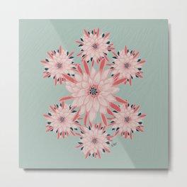 Cactus Flower Pink & Turquoise_oil painting Metal Print