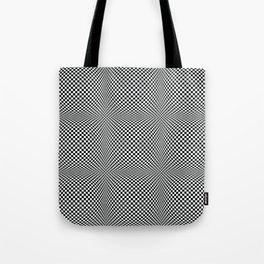 op art - black and white checks bulge Tote Bag