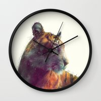 tiger Wall Clocks featuring Tiger // Solace by Amy Hamilton
