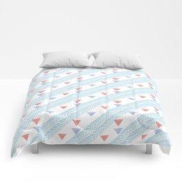 Modern coral blue watercolor handdrawn triangles chevron Comforters