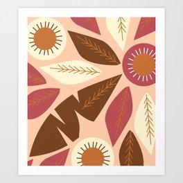 Brown leaves on coral Art Print