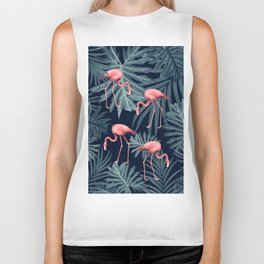 Summer Flamingo Jungle Night Vibes #1 #tropical #decor #art #society6 Biker Tank