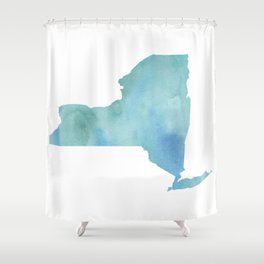 Watercolor State Map - New York NY blue greens Shower Curtain