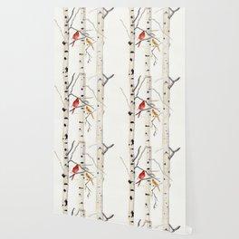 Birch Trees and Cardinal Wallpaper