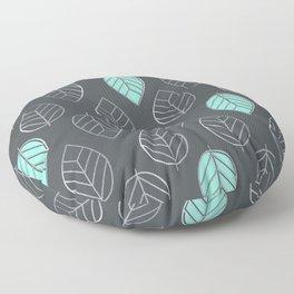 Mint & Silver Leaves Pattern & Slate Floor Pillow