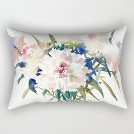 White Peonies, Asian Watercolor design Garden Peonies White lofral art Rectangular Pillow