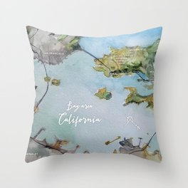 SF, San Francisco, Oakland, Bay Area, California Watercolor Map Art Throw Pillow