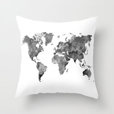 World map in watercolor gray Throw Pillow