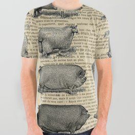 Book Art Page Sheep & Pigs All Over Graphic Tee