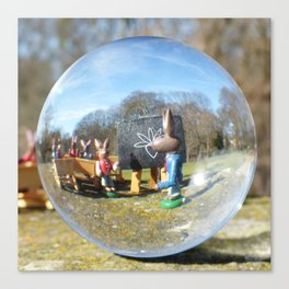 Easter Bunny school, Glass Ball Photography Canvas Print