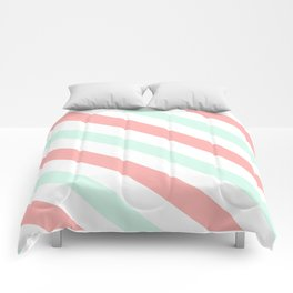 Mint and Coral Diagonal Stripes Comforters