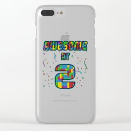 2nd Birthday Gift Awesome At 2 Years Blocks Brick  Clear iPhone Case