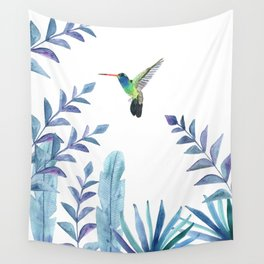 Hummingbird with tropical foliage Wall Tapestry