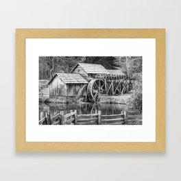 Mabry Mill Black and White - Blue Ridge Parkway Framed Art Print