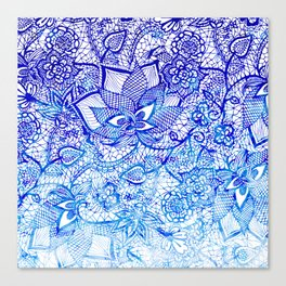 Modern china blue ombre watercolor floral lace hand drawn illustration Canvas Print