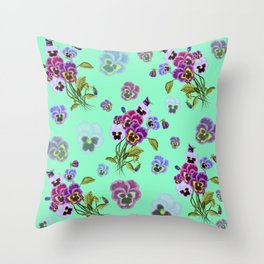 Floral pattern with blue and purple pansies on a turquoise background  Throw Pillow