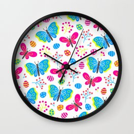 Easter Blue and Pink Butterfly Pattern Wall Clock