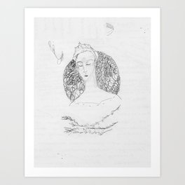 bramble branch portrait Art Print