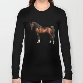 Dark Bay Arabian Horse with 4 White Socks Long Sleeve T-shirt