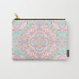 Mint and Blush Pink Painted Mandala Carry-All Pouch