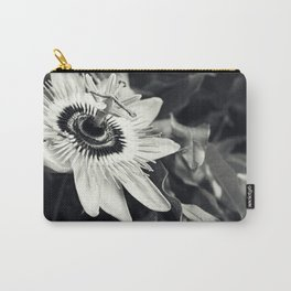 Passionflower - Tropical Orchid Floral black and white photograph Carry-All Pouch