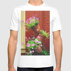 Potted Petunias Mens Fitted Tee White MEDIUM