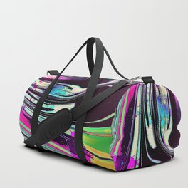 Lines and spots of color abstract digital painting Duffle Bag