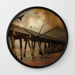 Surreal Stormy Ocean Beach Fishing Pier With Flying Ravens Wall Clock