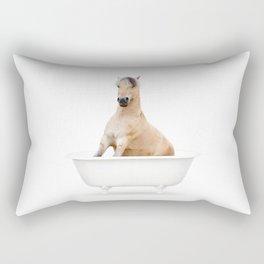 Horse in a Vintage Bathtub (c) Rectangular Pillow