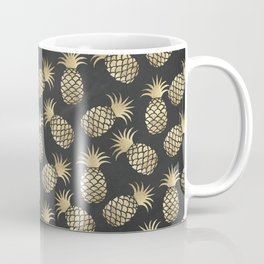 Modern chalk black elegant faux gold pineapple pattern Coffee Mug
