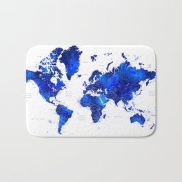 "Navy blue and cobalt blue watercolor world map with cities labelled, ""Carlynn"" Bath Mat"