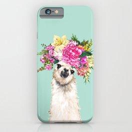 Flower Crown Llama in Green iPhone Case