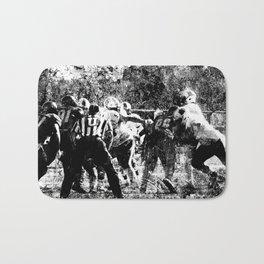 College Football Art, Black And White Bath Mat