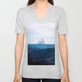 Sailing Ship on the Sea Unisex V-Neck