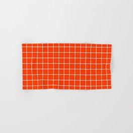 Coquelicot - orange color - White Lines Grid Pattern Hand & Bath Towel