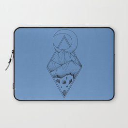 Geometric mountain in a diamonds with moon (tattoo style - black and white) Laptop Sleeve