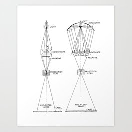 Vintage Line Drawing on Photographic Enlargers Art Print