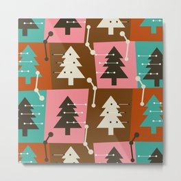 Mid-century Christmas trees Metal Print
