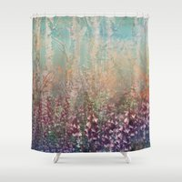 woodland Shower Curtains featuring Woodland by Claire Westwood illustration