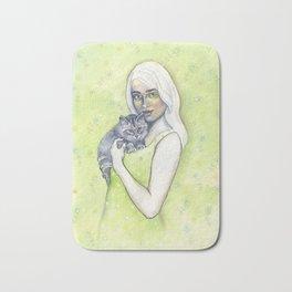 Girl with cat - by Fanitsa Petrou Bath Mat