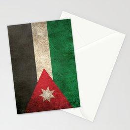 Old and Worn Distressed Vintage Flag of Jordan Stationery Cards