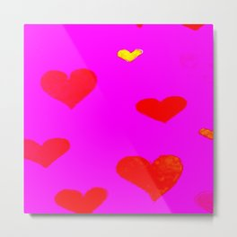Red and Pink Falling Hearts Metal Print