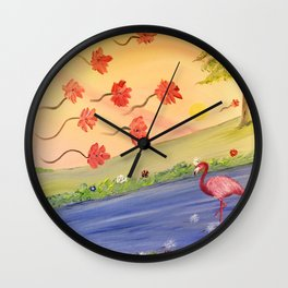 Flamant rose Wall Clock