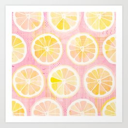 Orange Slices Pastel Fruit Art Print