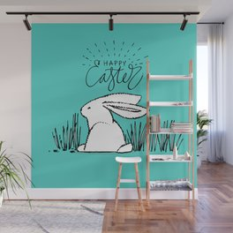 Happy Easter White Bunny Rabbit in Grass on Teal Wall Mural