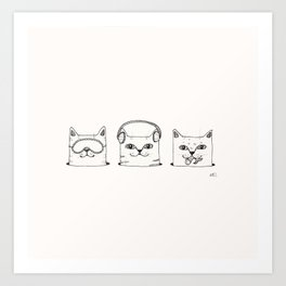 3 wise cats Art Print