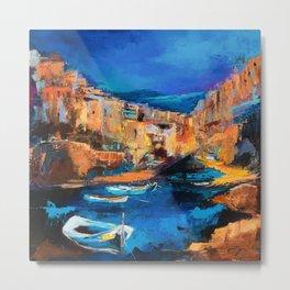 Night Colors Over Riomaggiore - Cinque Terre Metal Print