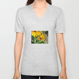 Black-eyed Susans and a Busy Bee Unisex V-Neck