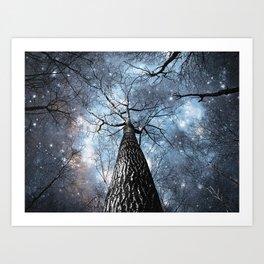 Wintry Trees Galaxy Skies Steel Blue Art Print