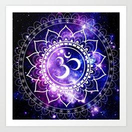 om mandala: purple blue space Art Print
